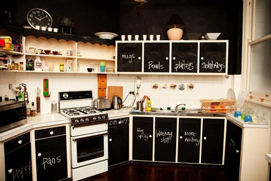 Chalkboard kitchen cabinet doors