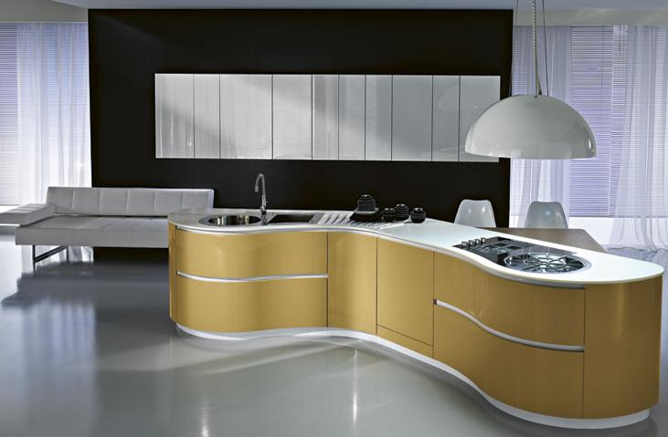 Contemporary kitchen cabinet with no handles