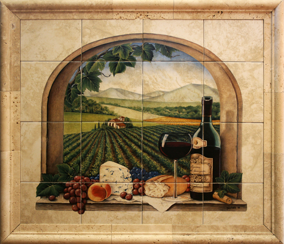 Kitchen wall mural tiles full home for Art deco tile mural