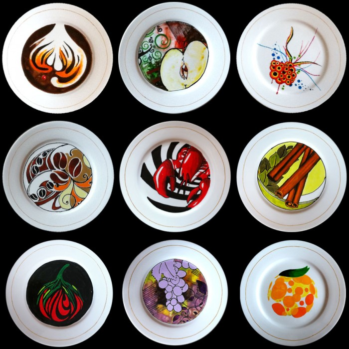 Plates with a food theme