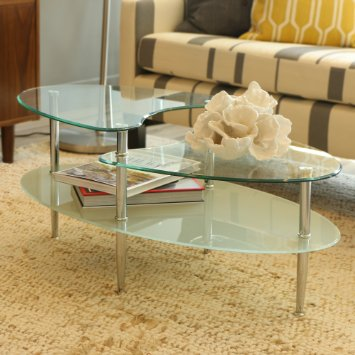 Walker Edison Glass Metal Oval Coffee Table